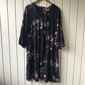 Dex Black Floral Boho Lace Up Dress